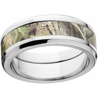 AP Green Men's Camo Stainless Steel Ring with Polished Edges and Deluxe Comfort Fit
