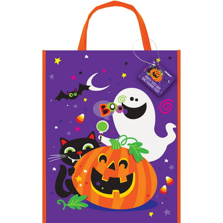 Large Plastic Happy Halloween Goodie Bag, 15 x 12 in, 1ct