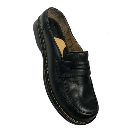 Cherokee Beth Womens Black Leather Low Back Penny Loafers Flats Shoes Cherokee Nurse Shoes