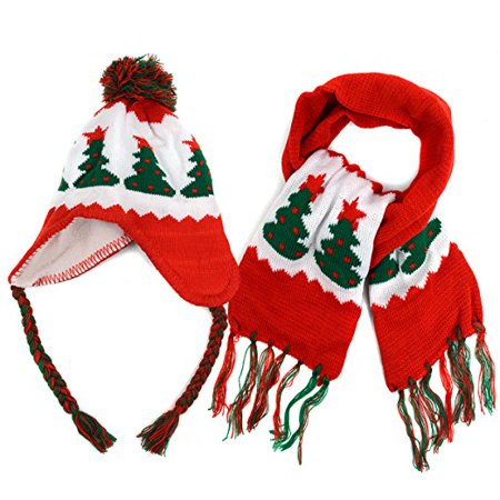 Kid's Holiday Beanie and Scarf Winter Set](Holiday Scarf)