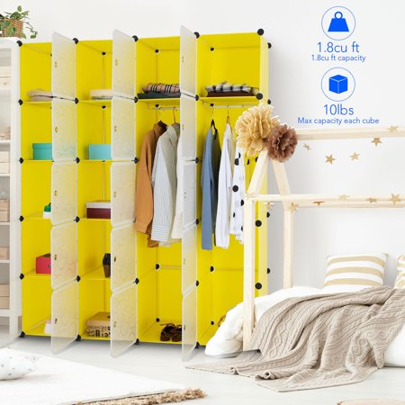 Costway DIY 20 Cube Portable Closet Wardrobe Storage Organizer Clothes Cabinet W/Doors