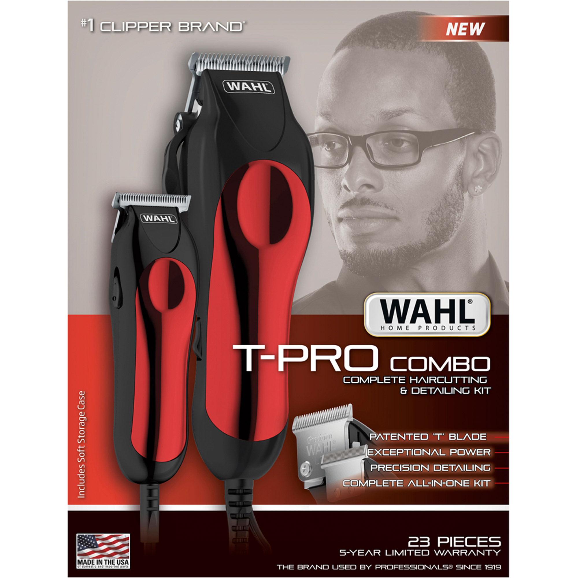 Wahl T-Pro Combo Complete Haircutting & Detailing Kit, Model 79111-1501, 23 pc