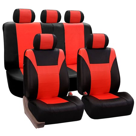 FH Group Tangerine and Black Racing Faux Leather Airbag Compatible and Split Bench Car Seat Covers, Full Set