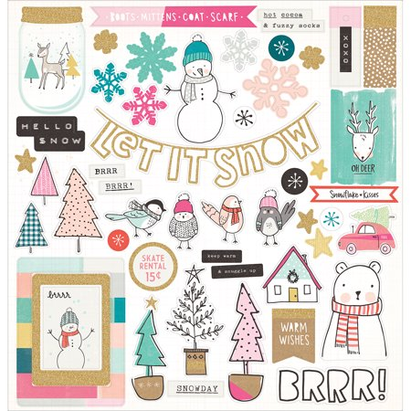 Fiskars Chipboard Stickers (American Crafts Crate Paper Snow And Cocoa Collection 12 X 12 Chipboard Stickers)