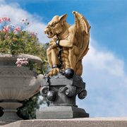 Design Toscano Ball-and-Chain Dungeon Gargoyle Gothic Statue, 15 Inch, Polyresin, Two Tone Stone