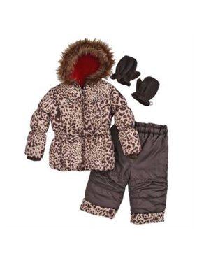 Rothchild Infant Girls Brown Leopard Outerwear Set Snow Pants Coat Snowsuit 18m