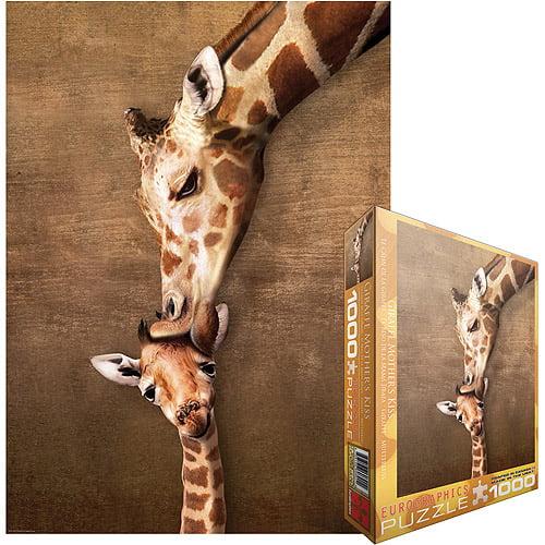 Giraffe Mother's Kiss Jigsaw Puzzle, 1000 Pieces