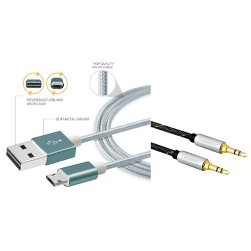 BasAcc Aluminum Nylon Reversible Micro USB Cable 3' Cable For Android Smartphone Tablet Tab (+ 3.5mm Aux Audio Cable)