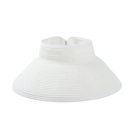 Women Summer Straw Headless Roll-Up Foldable Beach Wide Brim Sun Hat Visor Cap