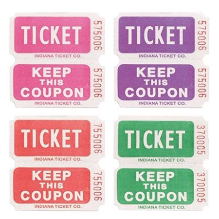 Club Pack of 20 Purple Pink Red and Green 50/50 Raffle Decorative Party Ticket Rolls - Party Tickets
