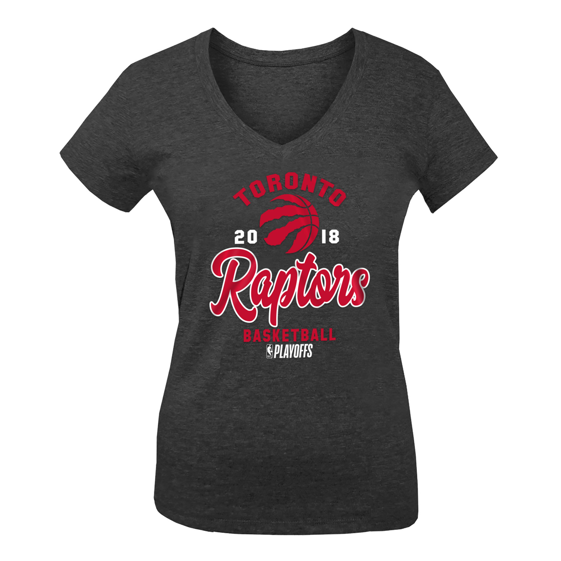 Toronto Raptors New Era Girls Youth 2018 NBA Playoffs Baby Jersey V-Neck T-Shirt - Black