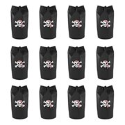 Black Polyester Pirate Theme Loot Treasure Bags with Drawstring Closure Skull Design Party Favors (12 Pack) by Super Z... by Super Z Outlet