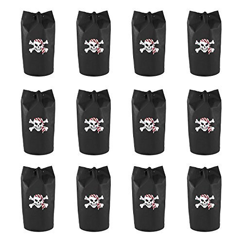 Black Polyester Pirate Theme Loot Treasure Bags with Drawstring Closure Skull Design Party Favors (12 Pack) by Super Z Outlet