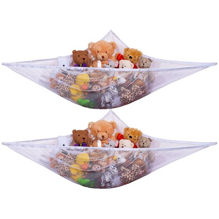 Mesh Hammock (Jumbo Toy Hammock -2PACK- Organize stuffed animals or children's toys with this mesh hammock. Looks great with any décor while neatly organizing kid's toys and stuffed animals. Expands to 5.5 feet )