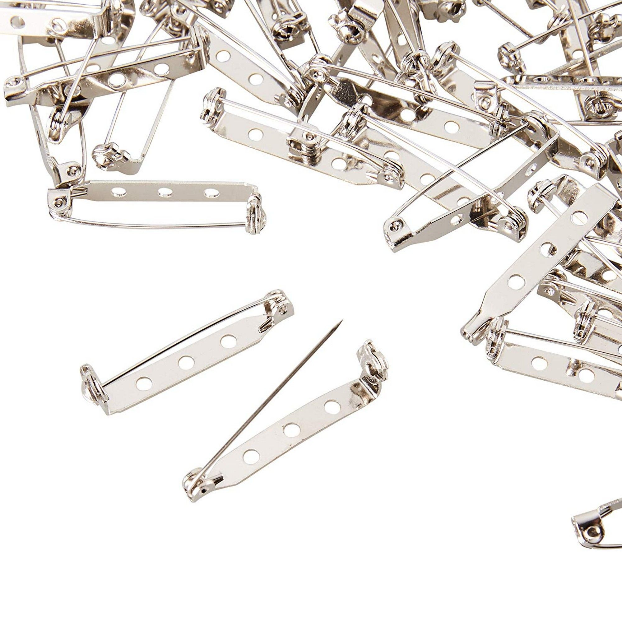 100Pcs Silver Brooch Bar Backs Safe Pins Badge Fasteners for Jewellery Findings
