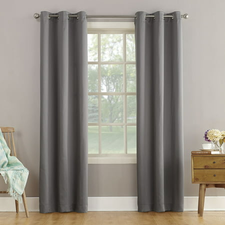 "63""x40"" Lazlo Energy Efficient Grommet Curtain Panel Gray - Sun Zero"