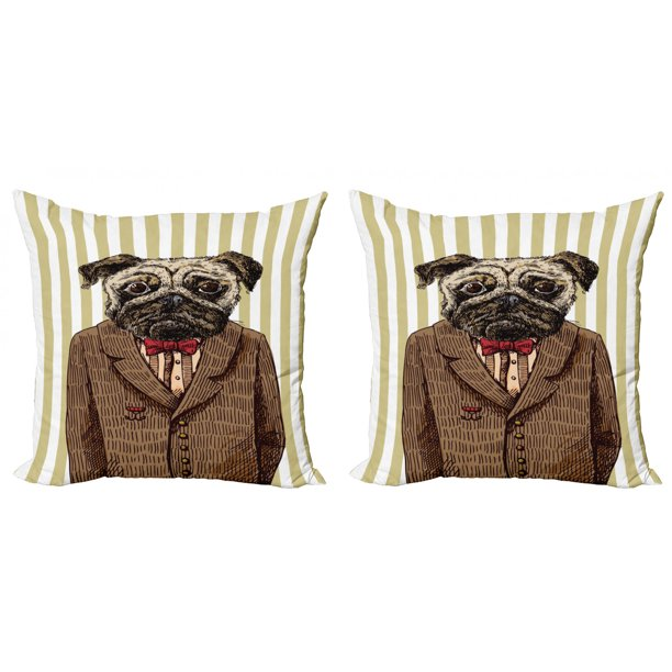 Pug Throw Pillow Cushion Cover Pack Of 2 Hand Drawn Sketch Of Smart Dressed Dog Jacket