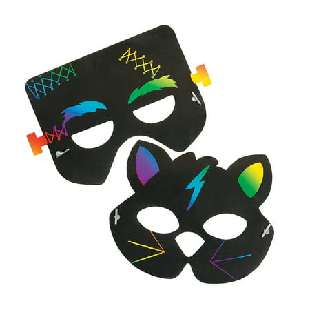 Fun Express - Halloween Magic Scratch Masks for Halloween - Craft Supplies - Magic Scratch - Shapes & Paper - Halloween - 24 Pieces