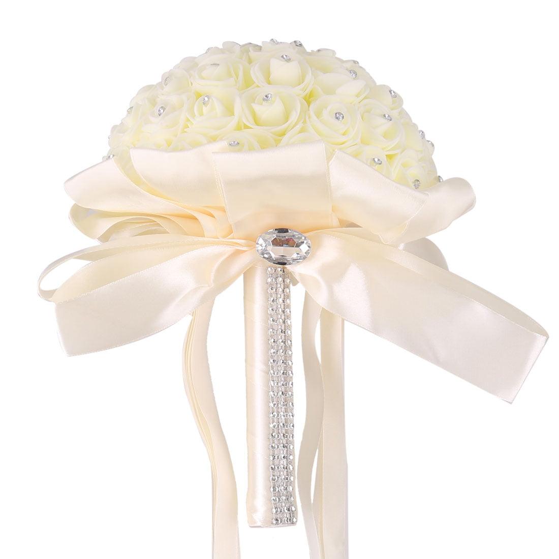 Bridesmaid Wedding Foam Buds Globular Handmade Artificial Flower Bouquet Beige