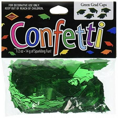 Beistle CN007 Green Grad Caps Confetti - Pack of - Glow In The Dark Confetti
