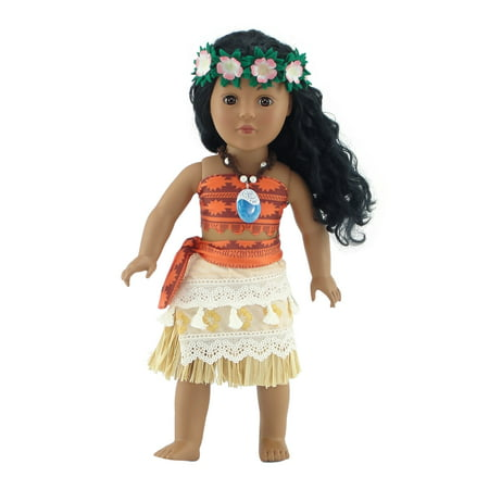 Emily Rose 18 Inch Doll Clothes | Moana-Inspired 6 Piece Doll Outfit, Including Heart of Te Fiti Necklace and Headband! | Fits 18