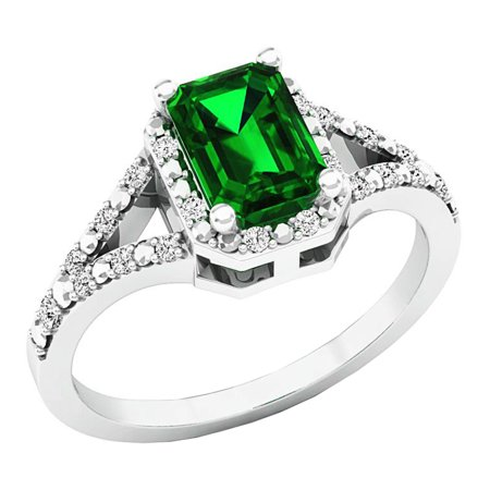 Sterling Silver 7X5 MM Lab Created Emerald & White Diamond Engagement Ring (Size