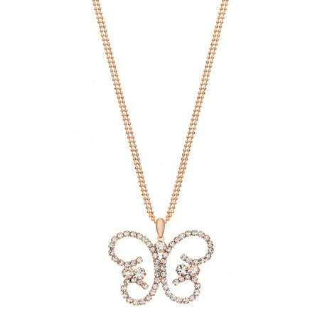 Austrian Crystal Butterfly Flower - Handset Austrian Crystal 14kt Rose Gold-Plated Butterfly Drop Necklace