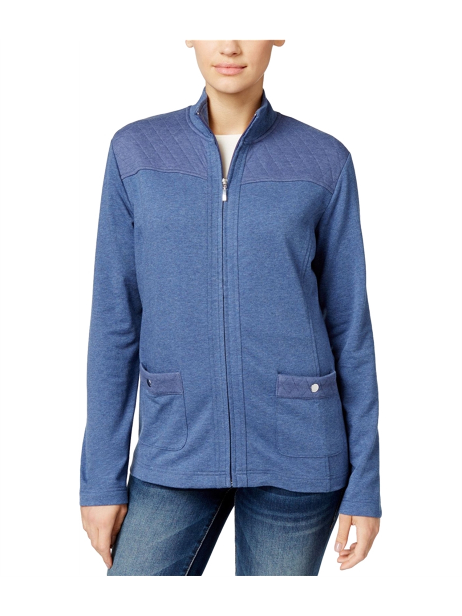 Karen Scott Womens Quilted Zip-Front Fleece Jacket