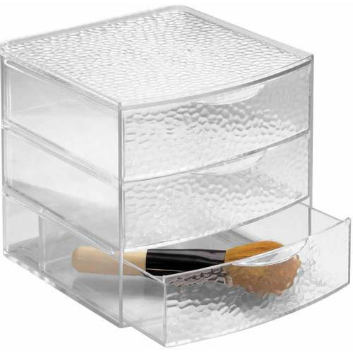 InterDesign Rain Cosmetic Organizer for Vanity Cabinet to Hold Makeup, Beauty Products, 3 Drawers, Clear