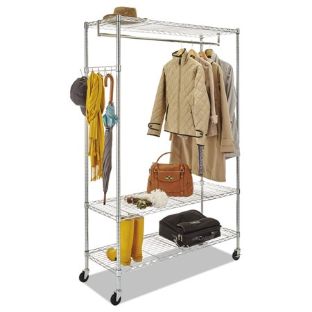 Wire Shelving Garment Rack, Coat Rack, Stand Alone Rack W/casters, Silver ()