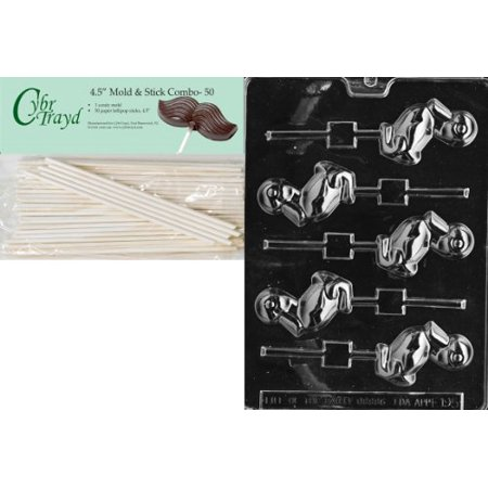 Cybrtrayd Duck Lolly 4 Easter Chocolate Candy Mold with 50 4.5-Inch Lollipop Sticks