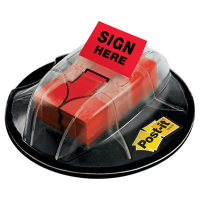 "High Volume Flag Dispenser, """"Sign Here"""", Red, 200 Flags/Dispenser, Sold as 200 Each, Arrow flags in lightweight flag dispenser with no-adhesive, secure base. By Post-it"