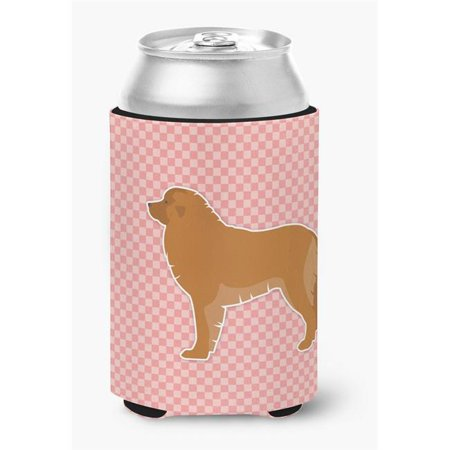 Leonberger Checkerboard Pink Can or Bottle Hugger - Pink Checkered