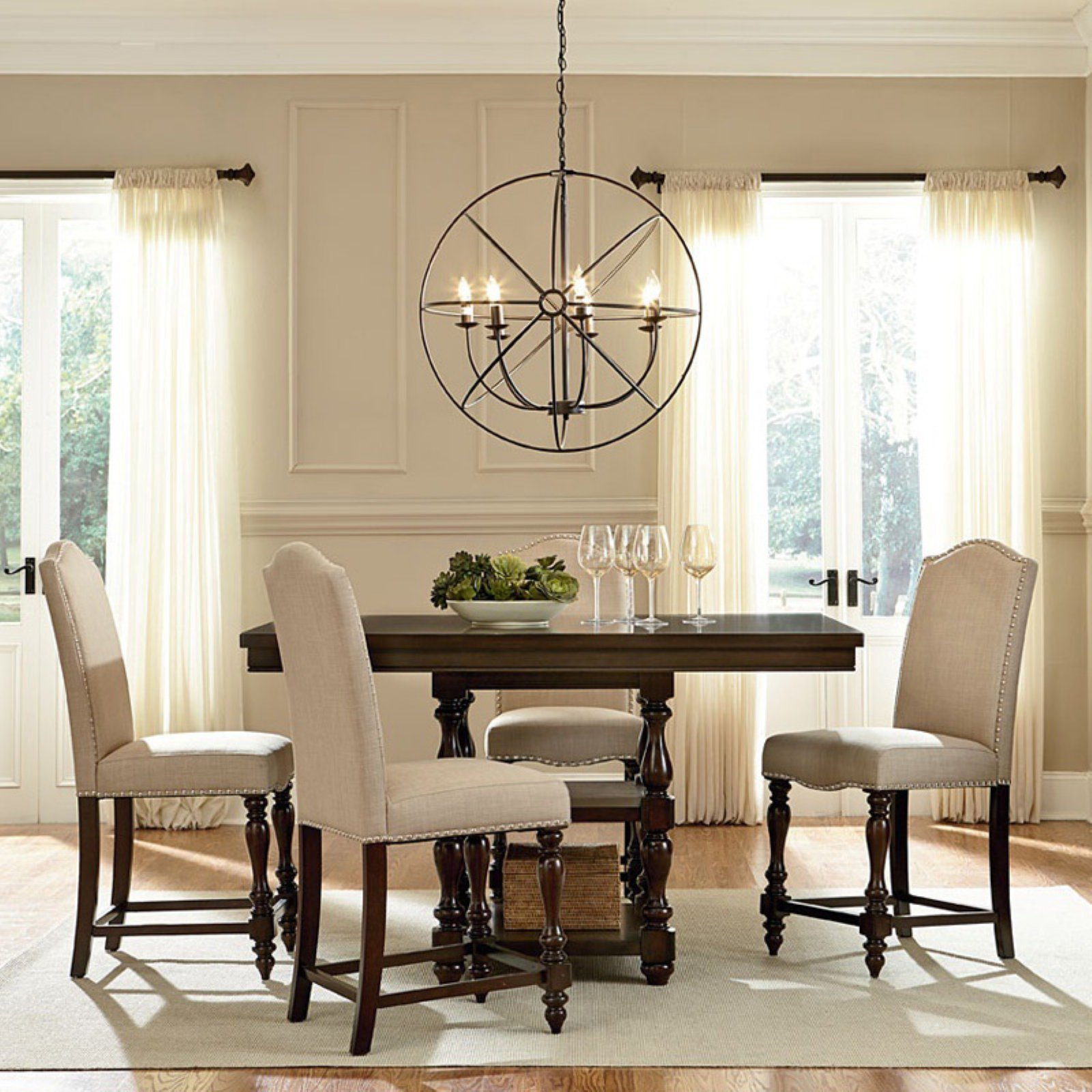 Baxton Studio Zachary Chic French 5 Piece Square Counter Height Dining Table Set