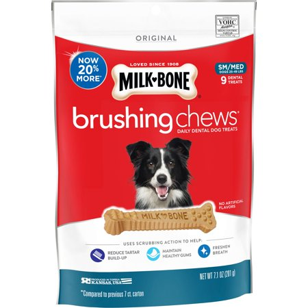 (4 pack) Milk-Bone Brushing Chews Daily Dental Dog Treats, Small-Medium, 7.1 Ounces, 9 Bones Per