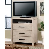 Furniture of America Taylah 3-Drawer Media Chest, Wire-Brushed Rustic White