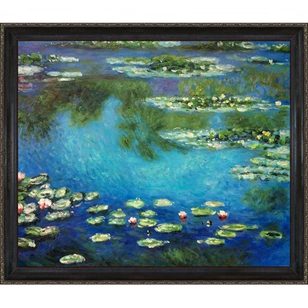 Hand Painted Lily - La Pastiche Claude Monet 'Water Lilies' Hand Painted Framed Canvas Art