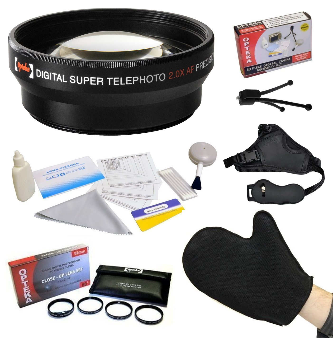 Best Value Kit for Olympus SP-550 SP-570 SP-560 UZ Digital Camera with 2x Lens   Opteka Close-Up Set with Macro Lens   Grip Strap   Microfiber LCD Photo Cleaning Glove   Tube Adapter   Cleaning Kit