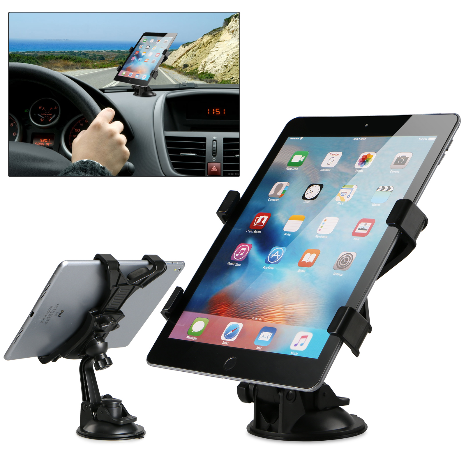 360 Rotating 7-10inch Tablet Car Windshield Instrument Bracket Mount Holder for iPad GPS