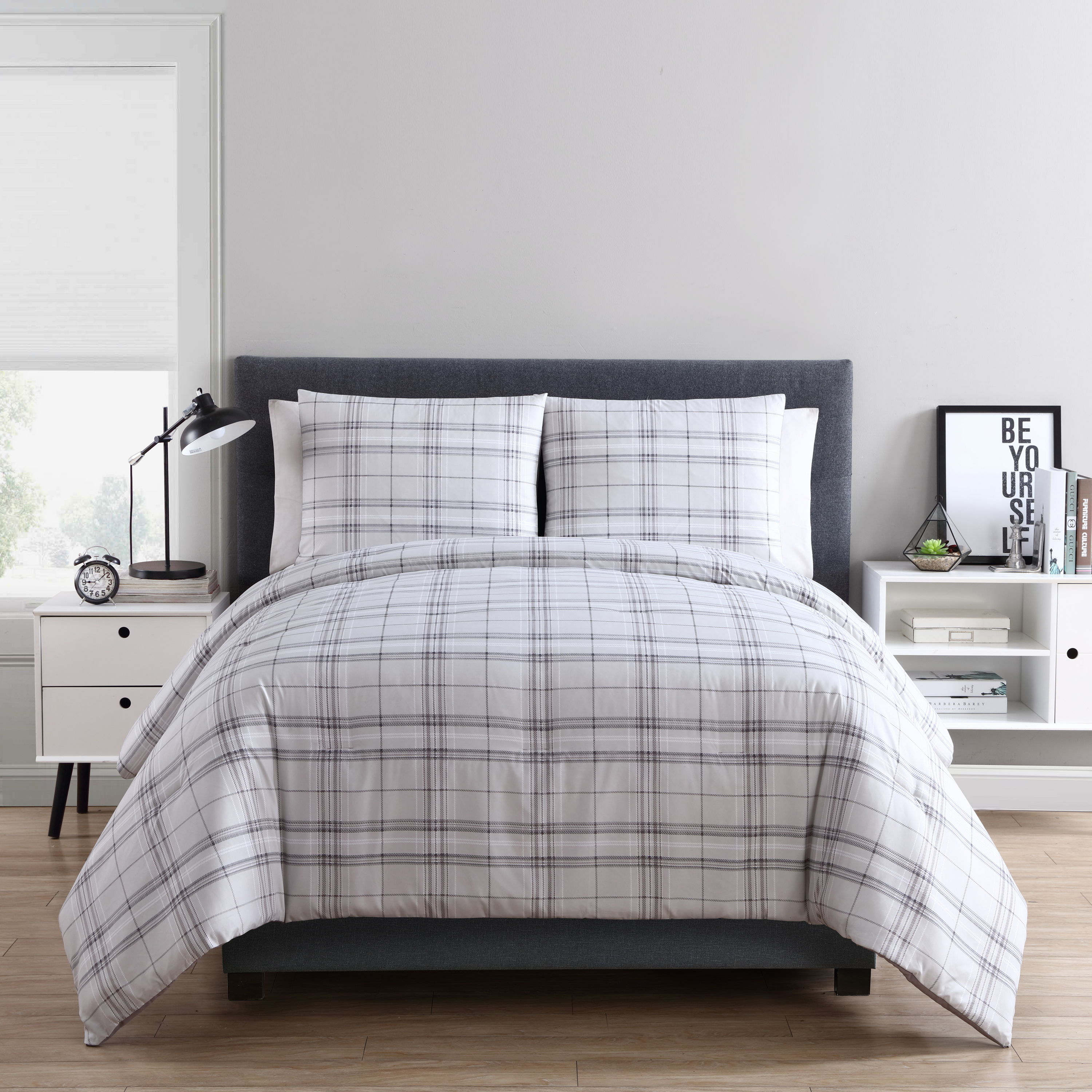 VCNY Home Taupe Box Plaid 3 Piece Bedding Comforter Set, Shams Included