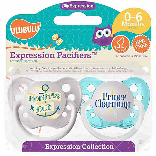 Ulubulu Mommas Boy/Prince Charming Pacifiers, 0-6 Months, 2-Pack