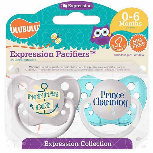 Ulubulu Mommas Boy/Prince Charming Pacifiers, 0-6 Months, 2-Pack