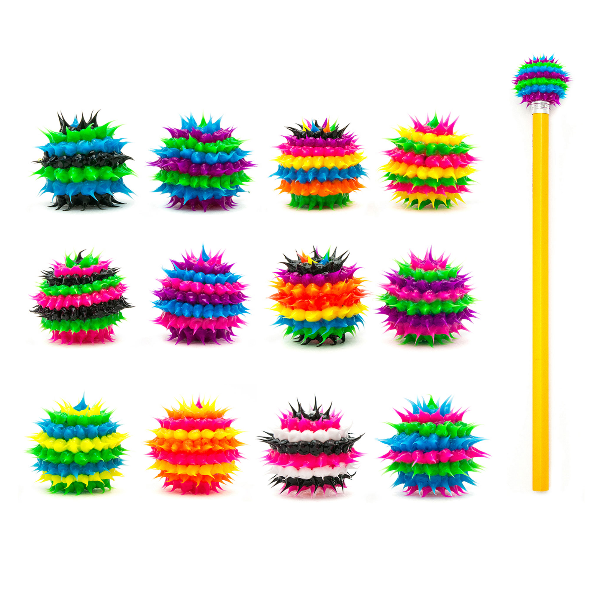 Frogsac 12 Pieces Striped Spiky Silicone Pencil Toppers - Great Party Favors