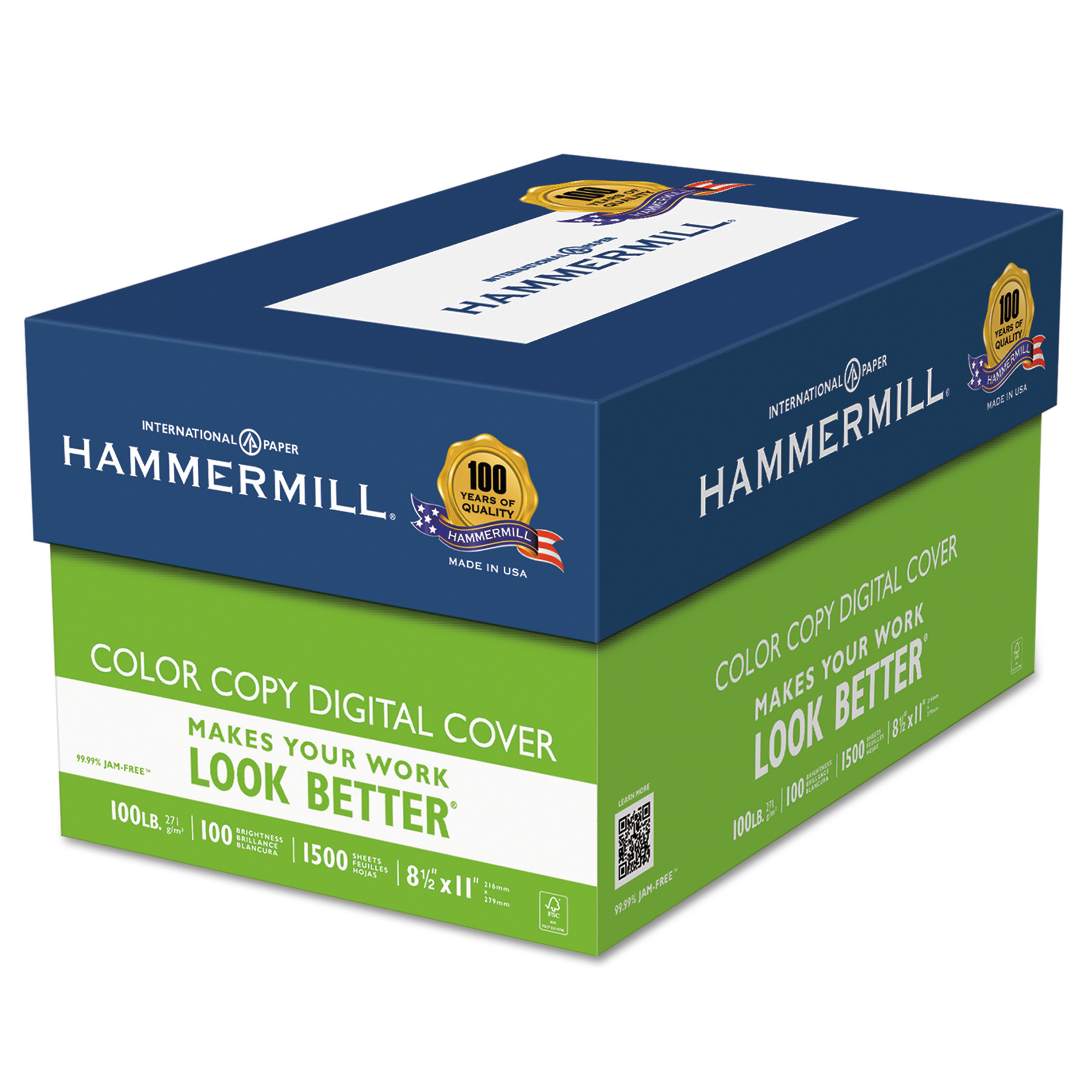 Hammermill Copier Digital Cover Stock, 100 lbs., 8 1/2 x 11, Photo White, 1500 Sheets