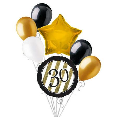 30th Birthday Balloons (7 pc 30th Black & Gold Elegant Stripes Balloon Bouquet Party Decoration)