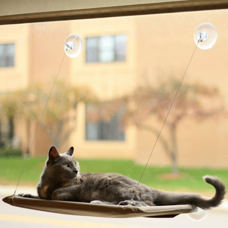Cat Wood Perch (Evelots Window Mounted Cat Bed, Window Kitty Perch, Strong & Durable, Beige )