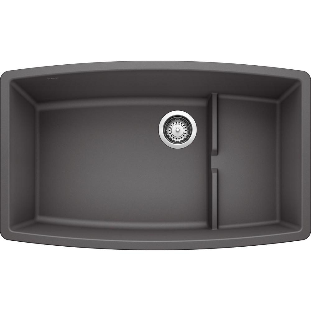 Blanco Performa Cascade Undermount Granite Composite 32 In Single Bowl Kitchen Sink With Mesh Colander In Cinder New Open Box Walmart Com Walmart Com