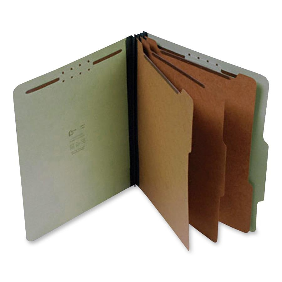 """Sj Paper Classification Folder - Letter - 8.5"""" X 11"""" - 3 Divider - 3"""" Expansion - 8 Fastener - 2"""" Capacity - 10 / Box - 25pt. - Green - Selco Industries, Inc. S60851"""