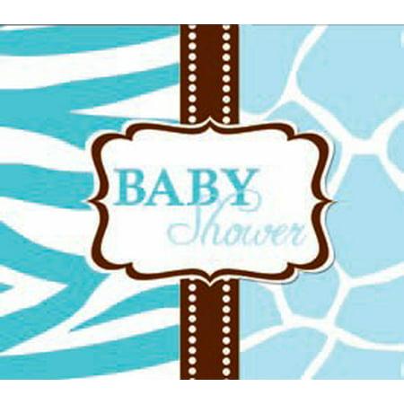 Wild Safari Blue Baby Shower Invitations (Safari Blue Baby Shower)