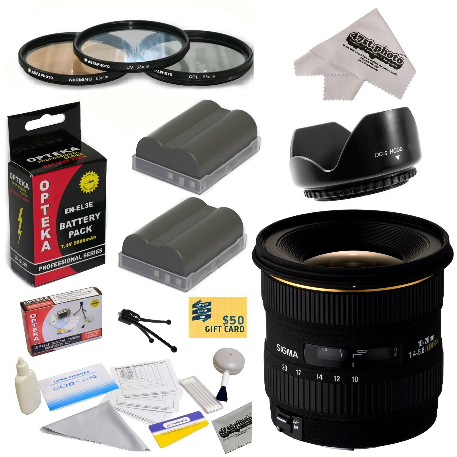 Sigma 10-20mm f/4-5.6 EX DC HSM Autofocus Lens for Nikon D700 D300S D300 D200 D100 D90 D80 D70 with 3 Piece Filter Kit, Lens Hood, 2 EN-EL3E Batteries, Cleaning Kit, Microfiber Cloth